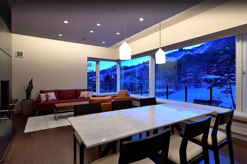 Mountain Side Living and Dining at Evening | Upper Wadano