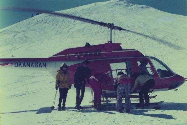 Heli skiing Blackcomb Mountain, Canada, in 1973.