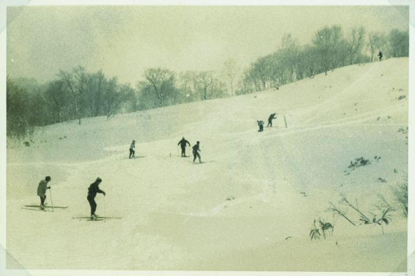 Climbing the slopes before the first chairlifts were built.