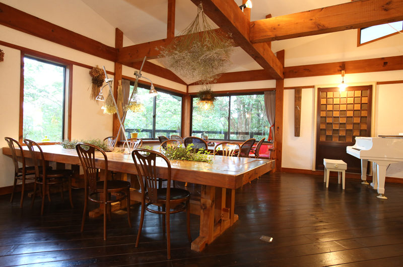Momiji Hakuba Dining Area with Wooden Floor | Hakuba Village
