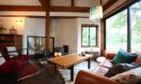 Momiji Hakuba Living Area with Fireplace | Hakuba Village
