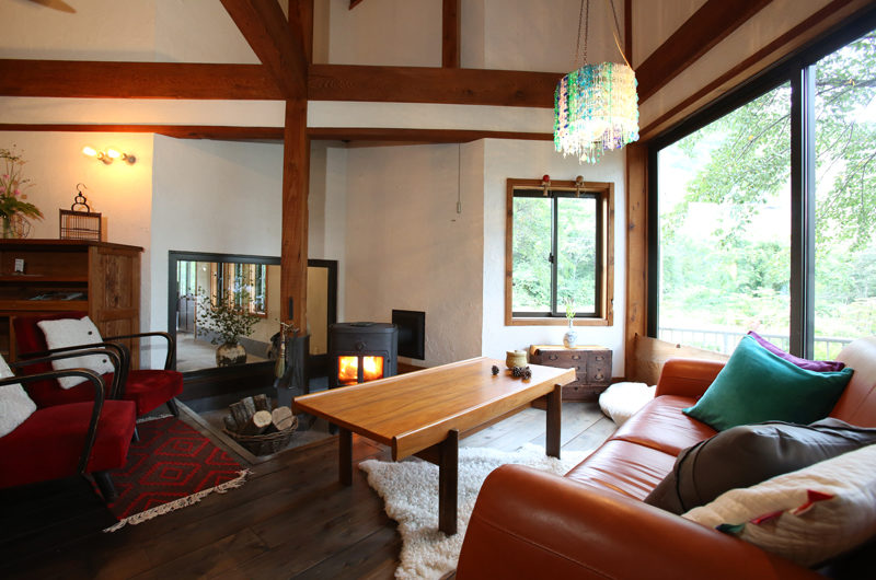 Momiji Hakuba Living Area with Fireplace | Hakuba Village