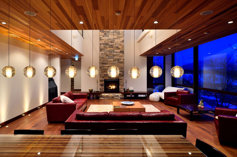 Panorama Living Area at Night | Lower Hirafu