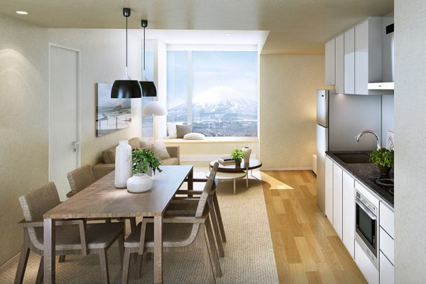 The Maples Niseko Kitchen and Dining Area with Mountain View | Upper Hirafu