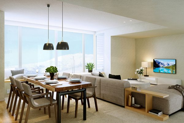 The Maples Niseko Living and Dining Area | Upper Hirafu