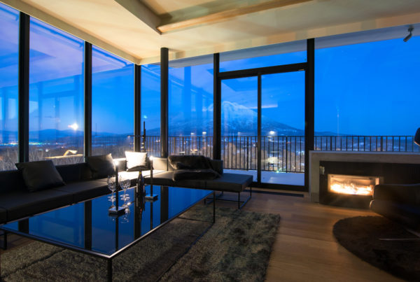 Muse Niseko Living Area at Night | Middle Hirafu