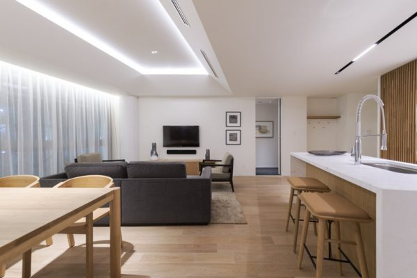 Skye Niseko Two Bedroom Suite Living Kitchen and Dining Area | Upper Hirafu Village
