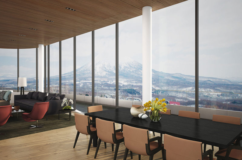Skye Niseko Penthouse Living and Dining Area with Mountain View | Upper Hirafu Village