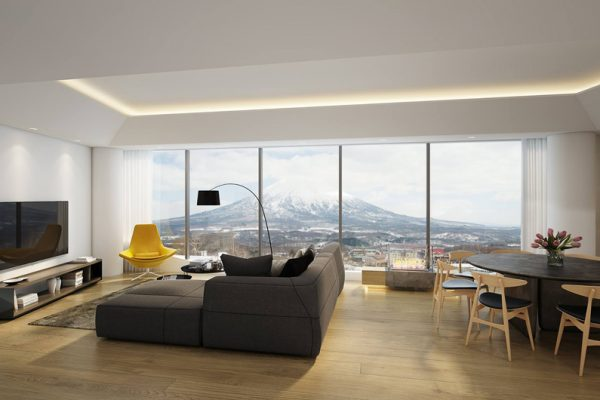 Skye Niseko Penthouse Living Area with TV | Upper Hirafu Village
