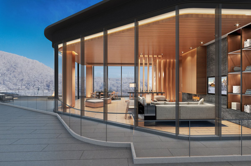 Skye Niseko Penthouse Living Area View from Outside | Upper Hirafu Village