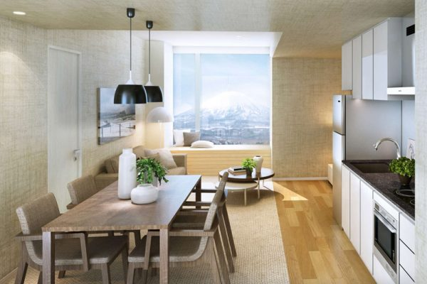 The Maples Niseko Kitchen and Dining Area   Upper Hirafu