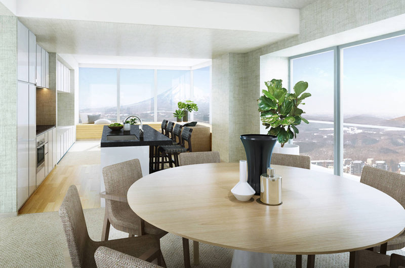 The Maples Niseko Dining Area with Mountain View   Upper Hirafu