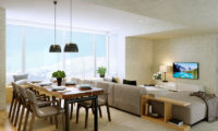 The Maples Niseko Living and Dining Area with TV   Upper Hirafu