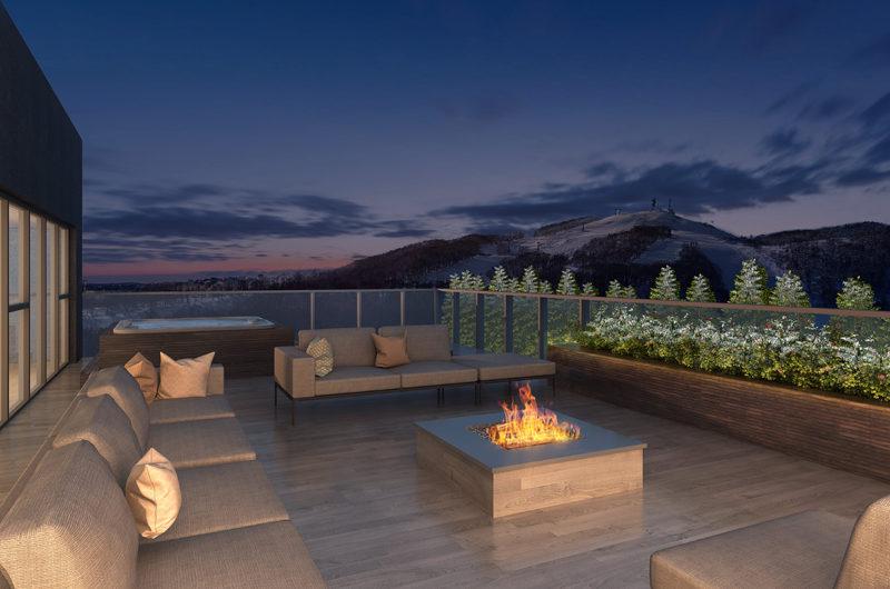 The Vale Rusutsu Open Plan Lounge Area with Fireplace | Rusutsu