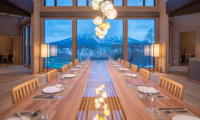 Panorama Niseko Dining Area with Crockery and Mountain View | East Hirafu