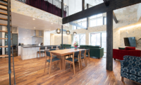 Kitsune House Living, Kitchen and Dining Area with Wooden Floor | Lower Hirafu