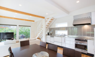 Ajisai Living, Kitchen and Dining Area with TV | Middle Hirafu