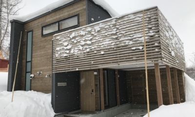Komorebi Chalet Outdoor Area with Snow | East Hirafu
