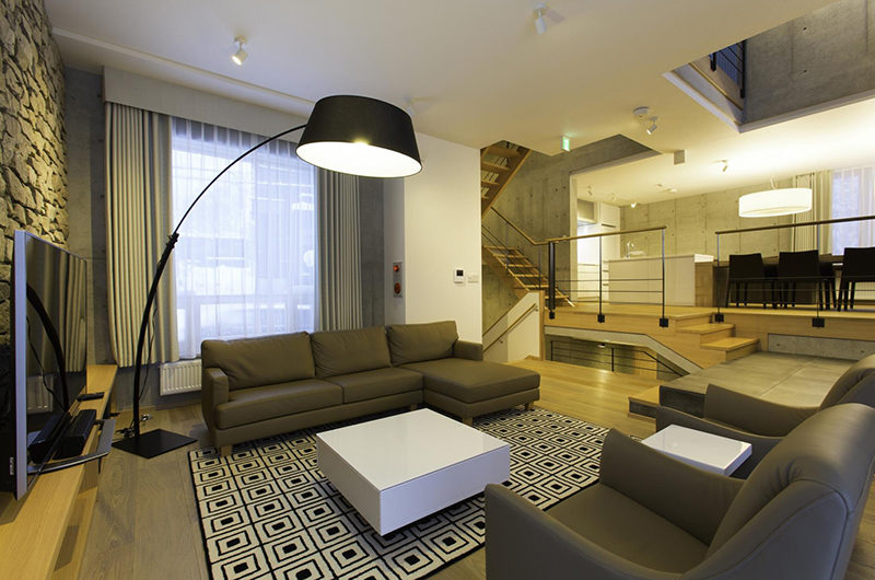 Mizunara Living Area with Side Lamp | Lower Hirafu