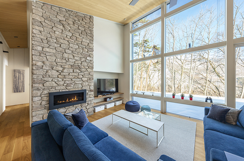 Sakka Rocks Chalet Living Area with Fireplace | Upper Wadano