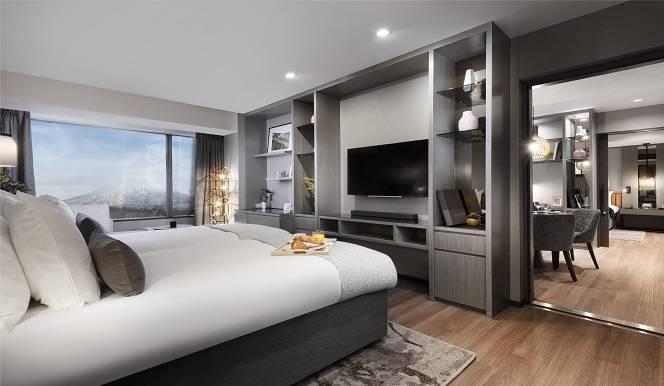 Hinode Hills Bedroom with TV and Wooden Floor   Niseko Village