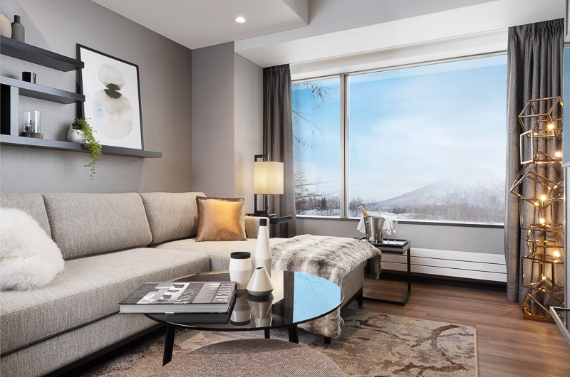 Hinode Hills Lounge Area with Mountain View | Niseko Village