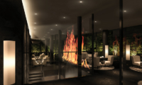 Tellus Niseko Seating Area with Fireplace | Upper Hirafu