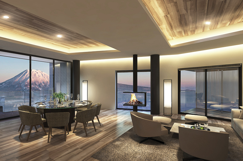 Tellus Niseko Living and Dining Area with Mountain View | Upper Hirafu