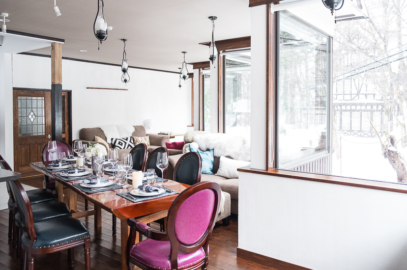 Chalet Hakuba Dining Area with Crockery | Upper Wadano