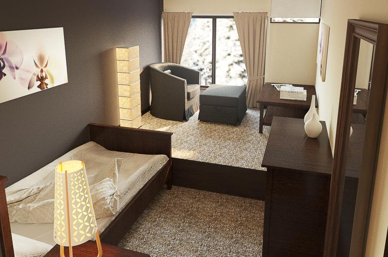 Chalet Hakuba Single Bed with Side Lamp | Upper Wadano