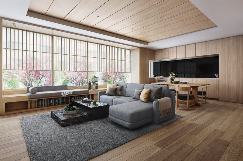 Setsu Niseko Living Area with View | Upper Hirafu