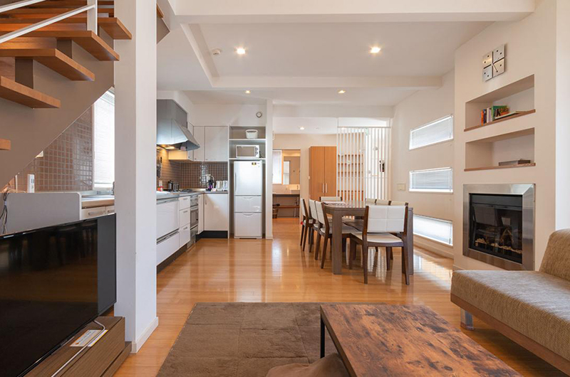 Snow Fox Living, Kitchen and Dining Area | Lower Hirafu