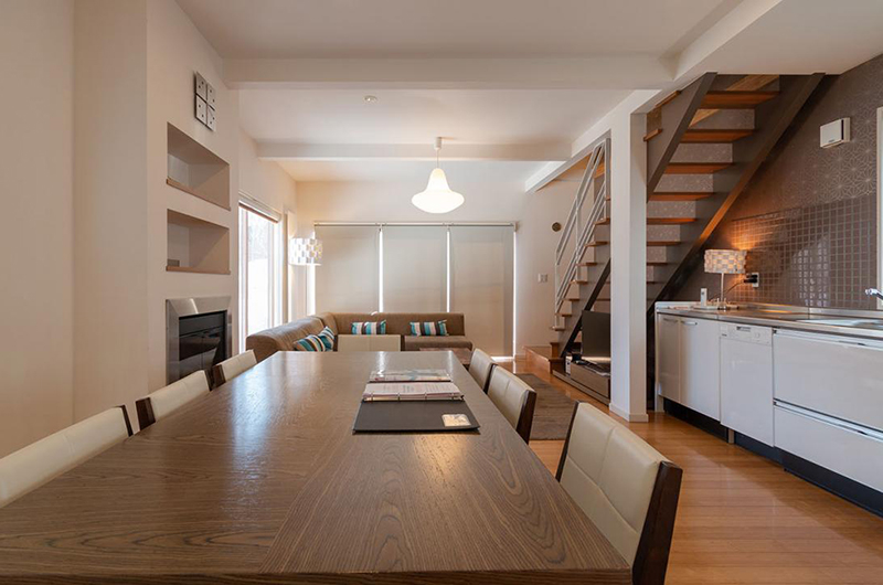 Snow Fox Living, Kitchen and Dining Area with Up Stairs | Lower Hirafu