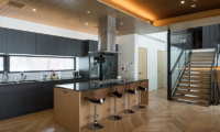 Hachi Modular Kitchen with Up Stairs | Upper Wadano