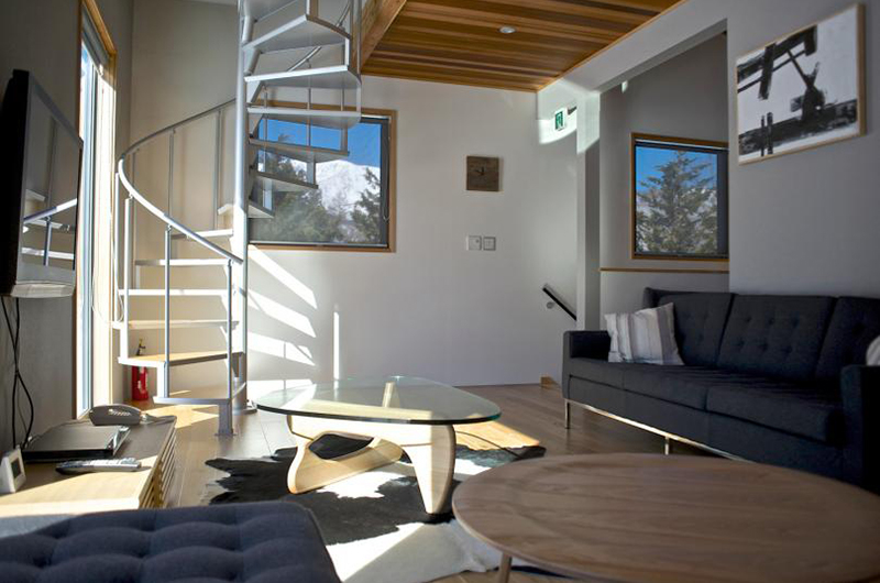 Wagaya Chalet Lounge Area with Up Stairs | Happo Village