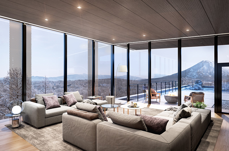 Intuition Niseko Living Area with Mountain View | West Hirafu