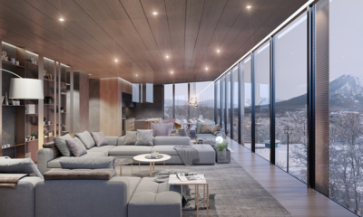 Intuition Niseko Indoor Living Area with Mountain View | West Hirafu