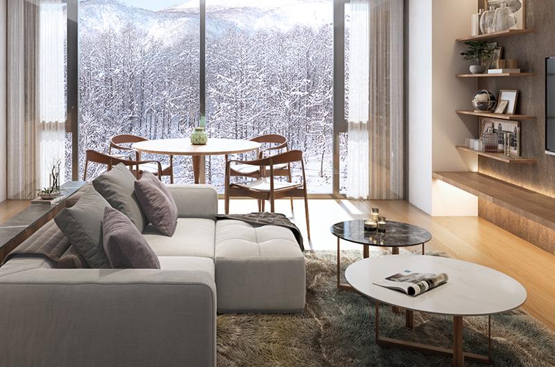 Intuition Niseko Lounge Area with TV | West Hirafu