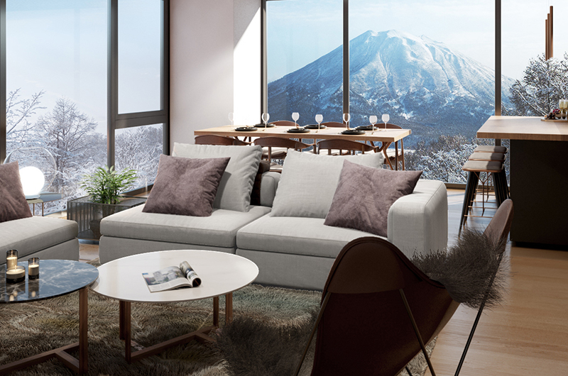 Intuition Niseko Living and Dining Area with View | West Hirafu