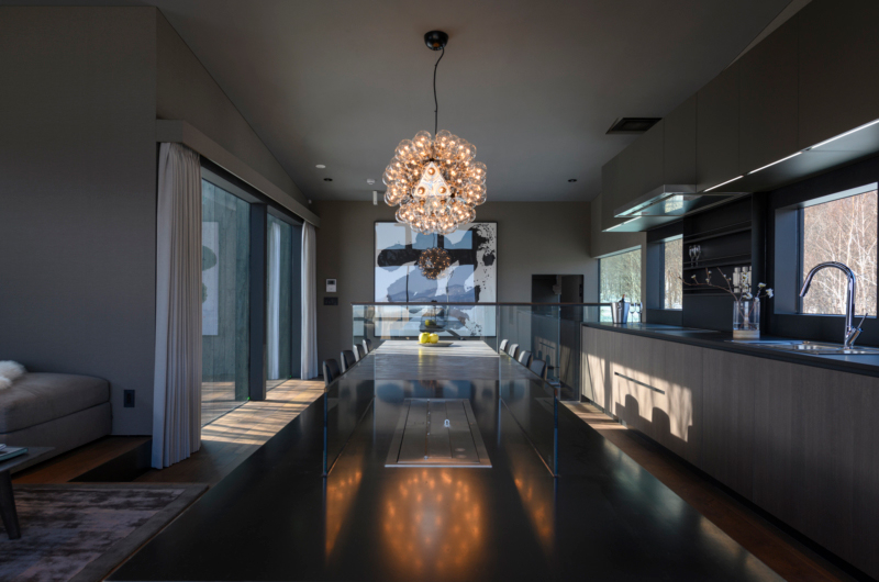 Odile Kitchen and Dining Area with Hanging Light | West Hirafu